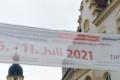 Banner über dem Steinweg zur Thüringer Woche der Pflegenden Angehörigen