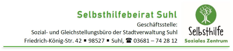 Kontaktdaten der Geschäftsstelle des Selbsthilfebeirates Suhl